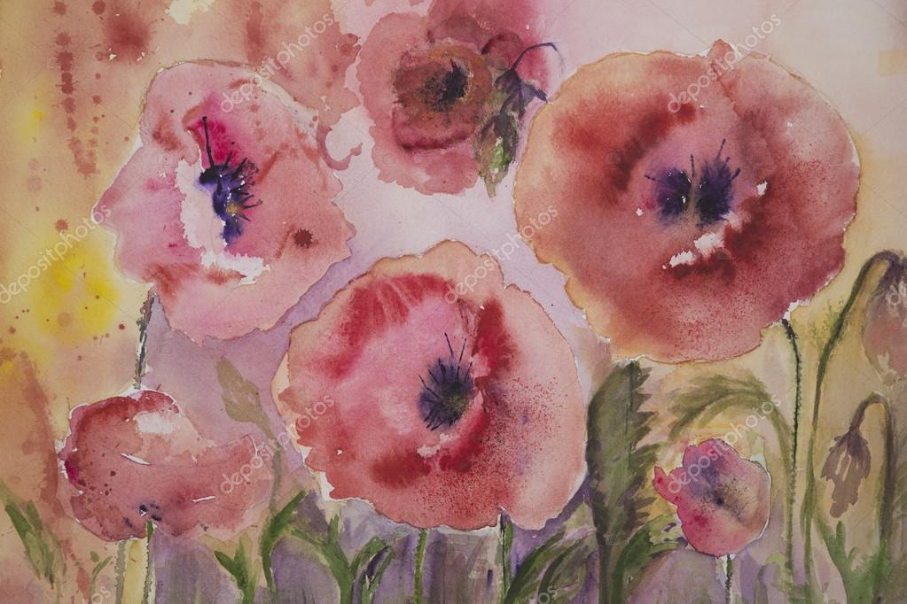 Naive poppies with yellow and pink background.