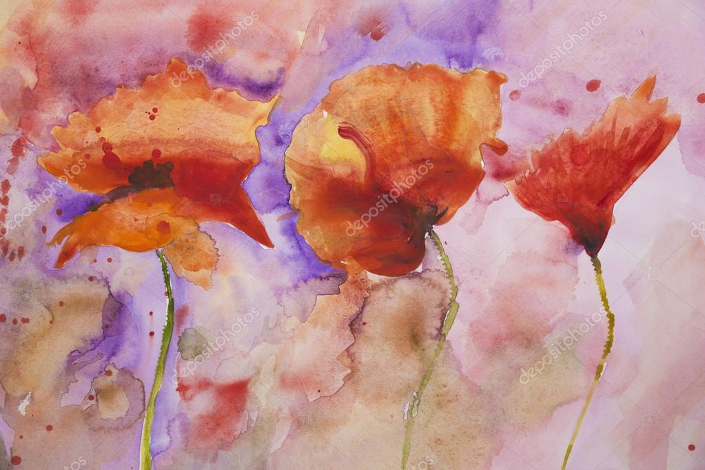 Psychedelic splashed poppies.