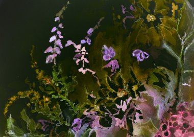 Impression of a mix of wild flowers against a night sky.