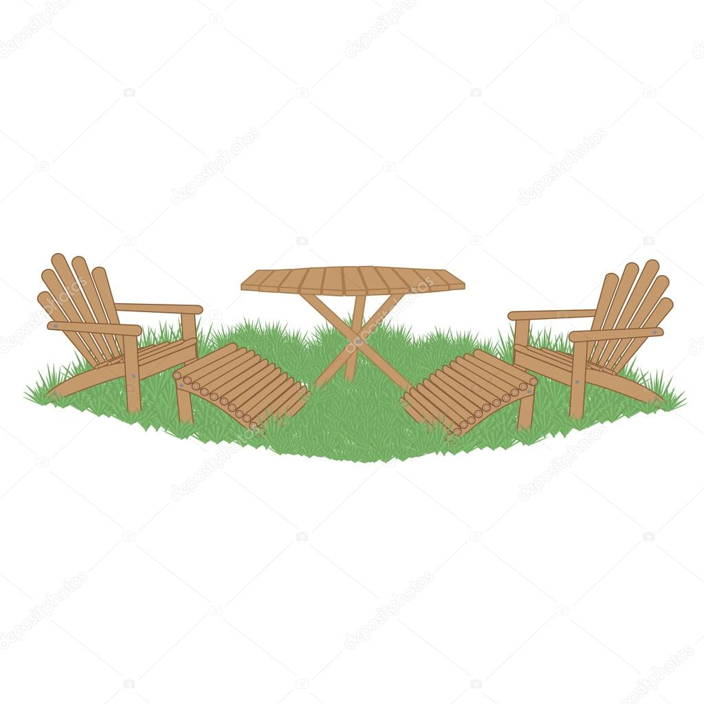 Muebles De Jard N En El Jard N Vector De Stock Leonbul 123242360 # Muebles Para Jatdin