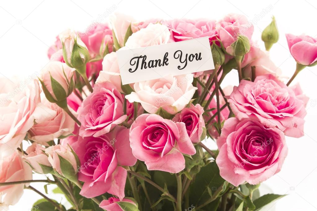 Thank You Card with Bouquet of Pink Roses — Stock Photo © simonida ...