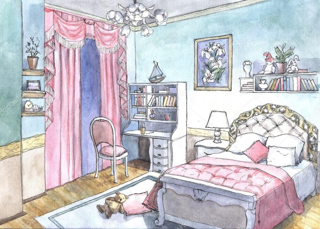 Schlafzimmer Design Aquarell Malerei U2014 Stockfoto