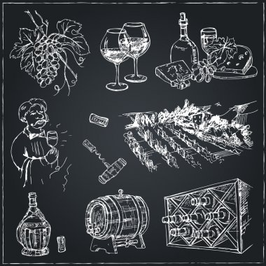 Set of wine drawings.