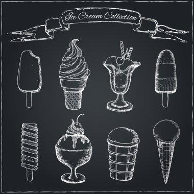 Ice Cream Set on Chalkboard