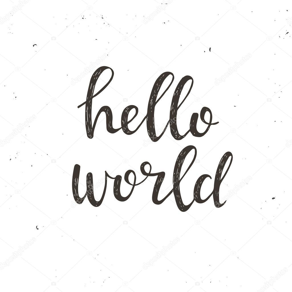 Hello world. typography poster — Stock Vector