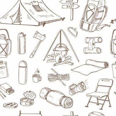 Hand drawn camping equipment drawings seamless pattern.