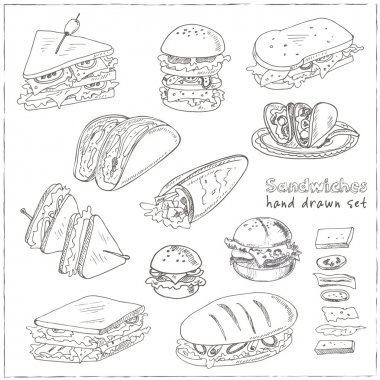 Vector Set of sandwiches. Club sandwich cheeseburger hamburger deli wrap roll taco baguette bagel toast. Illustration for menus, recipes and packages product clip art vector