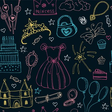 Fairy Tale Princess seamless pattern