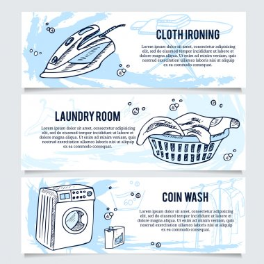Laundry banners or website header set for service.