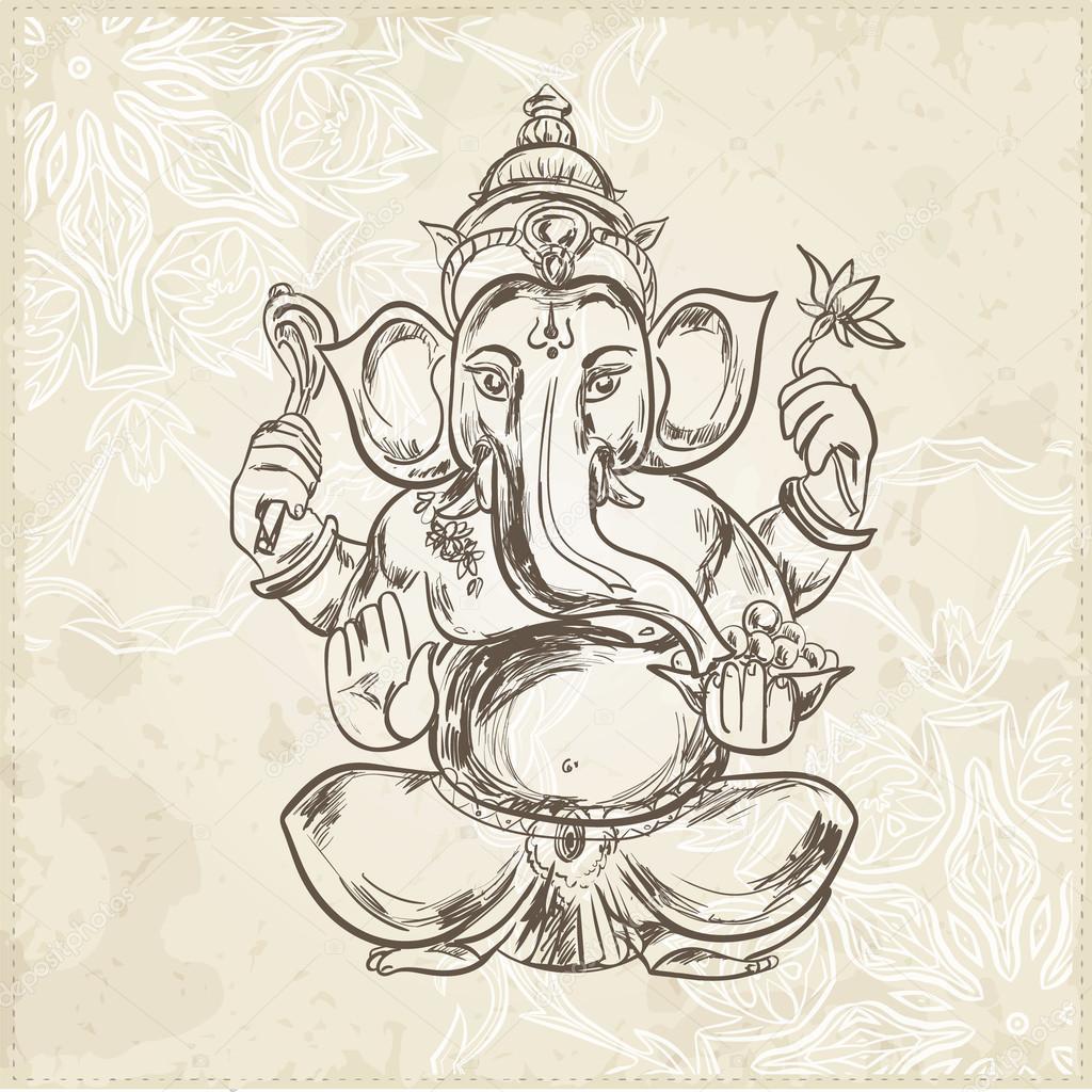 Mano dibuja la ilustración de vector de sesión señor Ganesha ...