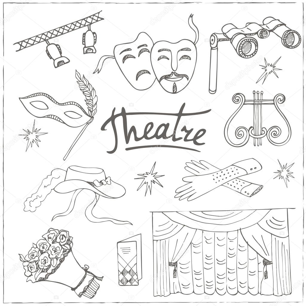 Dibujos Mascaras De Teatro Para Colorear Dibujado A Mano Doodle