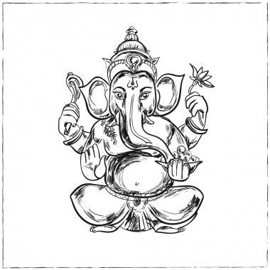 Hand drawn vector illustration of Sitting Lord Ganesha