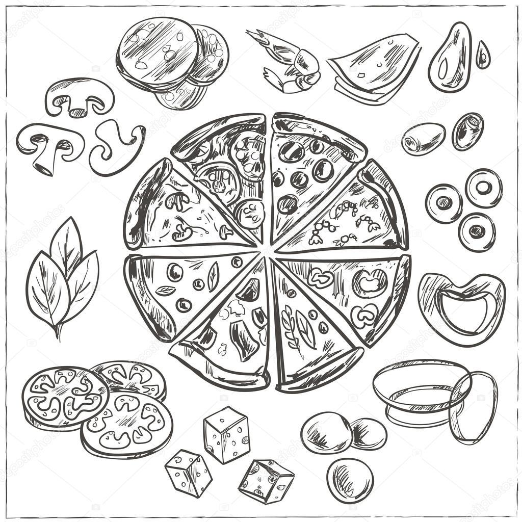 inteira e em fatias de pizza italiana vetores de stock fafarumba
