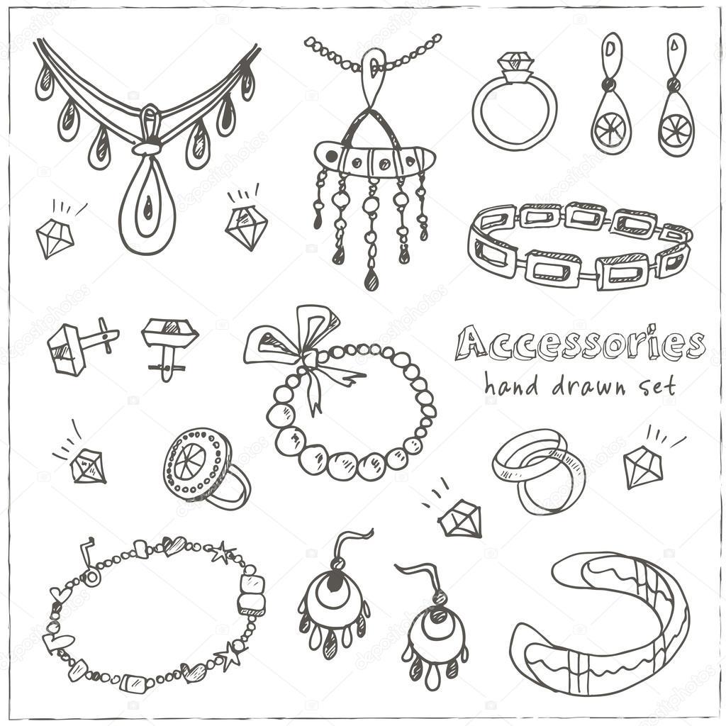 Jewelry Design Line Art : Аксессуары эскиз икона set — Векторное изображение