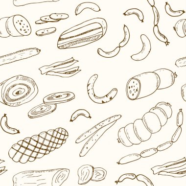 Sausages seamless pattern. Hand drawn vector illustrations. food icons for restaurant menu or food package design.