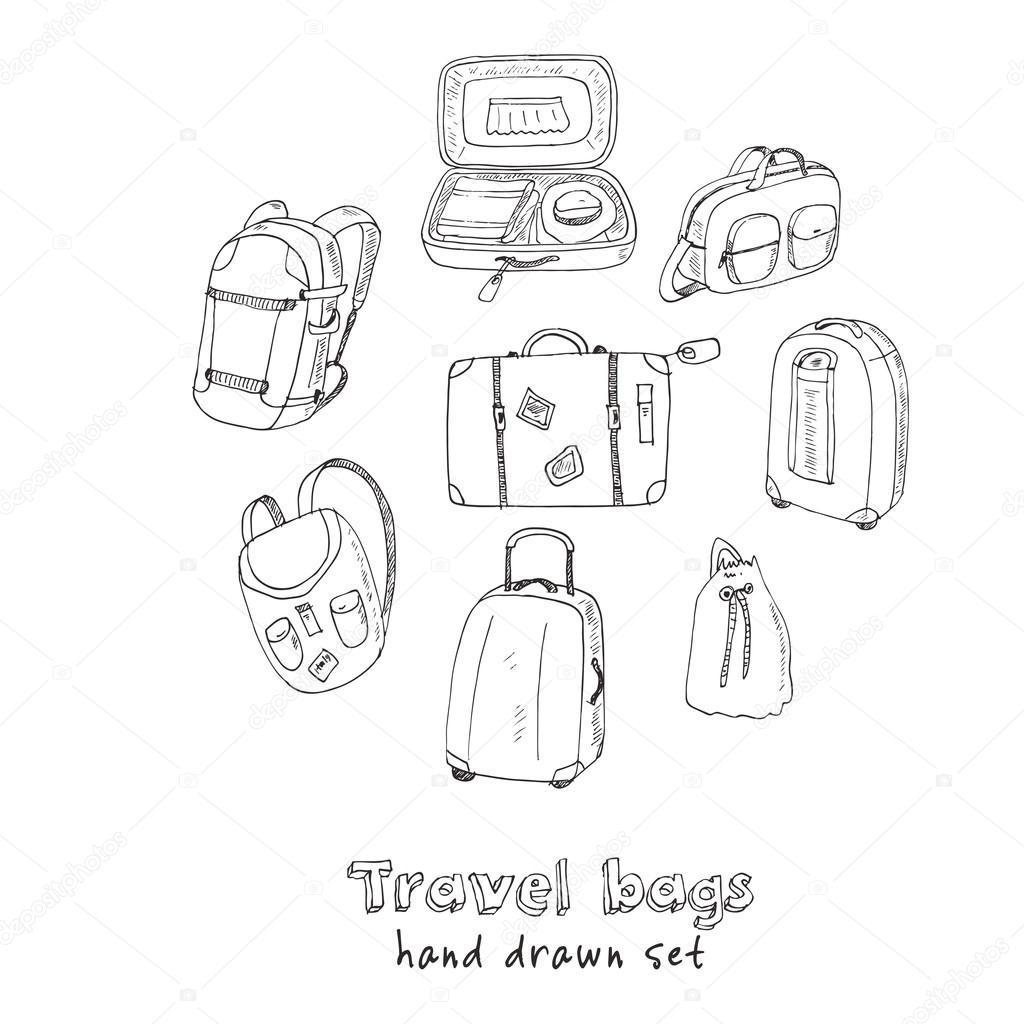 Fekete körvonalai különböző utazási táskák és bőröndök vektoros  illusztráció — Vektorok Fafarumba szerint 9a18983982