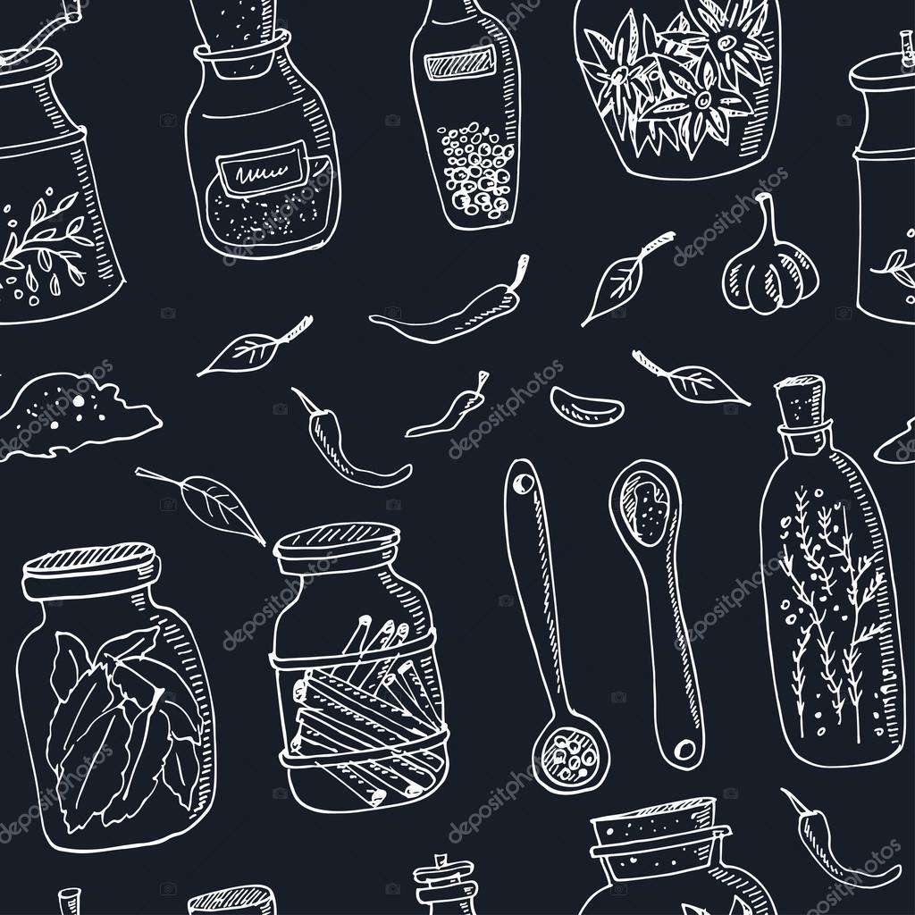 Spices in jars seamless pattern Vintage illustration for identity, design