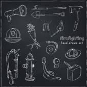 Fotografie Doodle Brandbekämpfung Werkzeuge set Vintage illustration