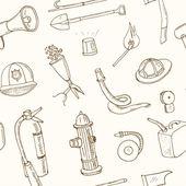 Fotografie Doodle Werkzeuge Musterdesign Vintage Illustration zur Brandbekämpfung