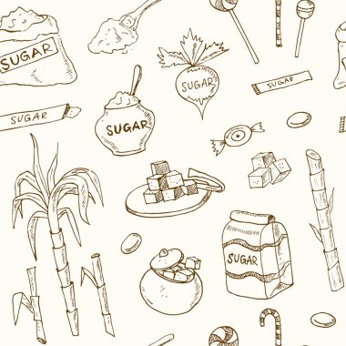 Doodle seamless pattern sugar products Vector illustration