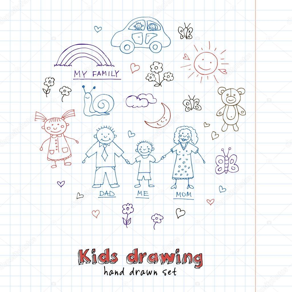 Kids Drawings doodle set. Vintage illustration for identity