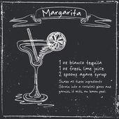 Margarita. Ručně kreslenou ilustrace koktejl