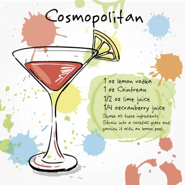 Cosmopolitan. Hand drawn illustration of cocktail.