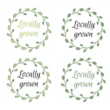Locally grown hand-sketched herbal vector frame