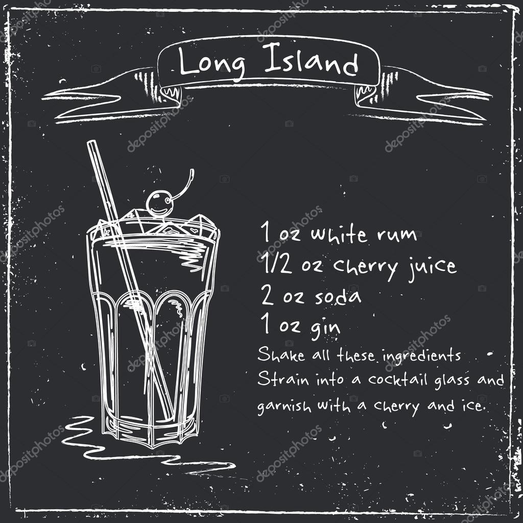 Long island. Hand drawn illustration of cocktail.