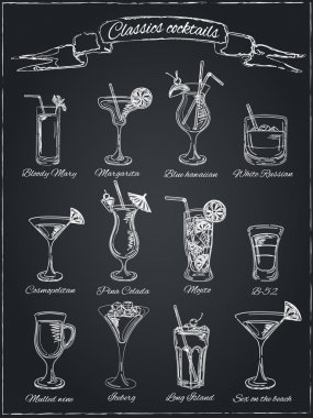 Classic Cocktails. Hand drawn illustration