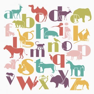 Vector zoo alphabet with cartoon animals isolated on white backg