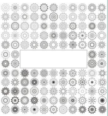 Geometric circular ornament set.