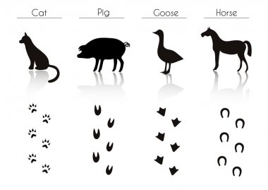 Farm Animals and Birds Silhouettes