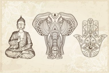 Indian Hamsa, Elephant, and Buddha