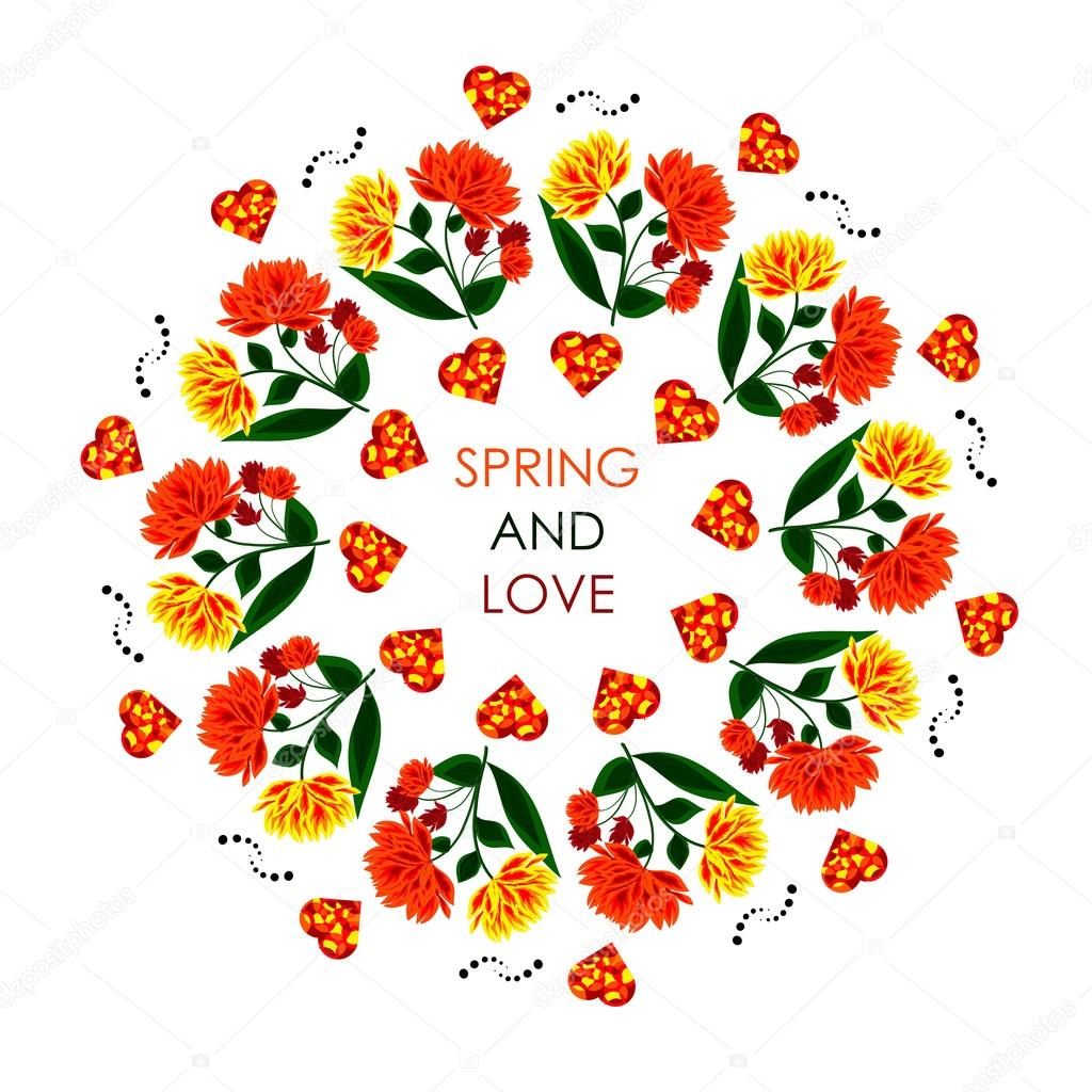 Mandala with orange hearts for a positive spring. Can be use for