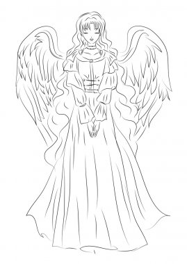 Illustration of an angel in a humble sketch style. It can be use