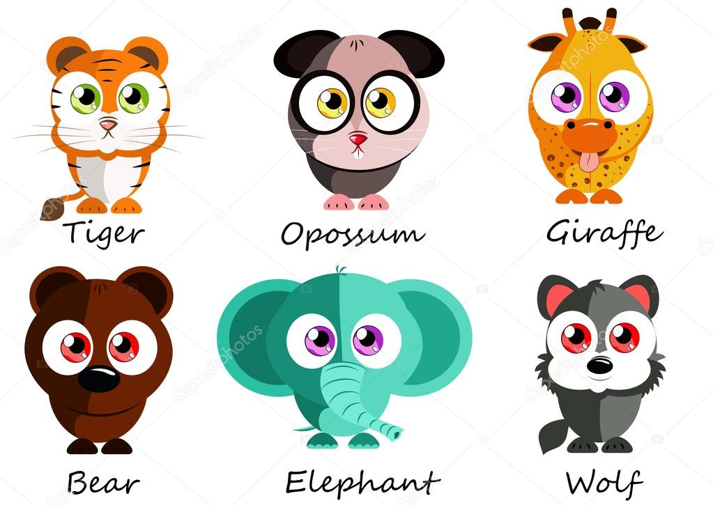 Wild. Set cute animals for use as stickers, pictures in games, b