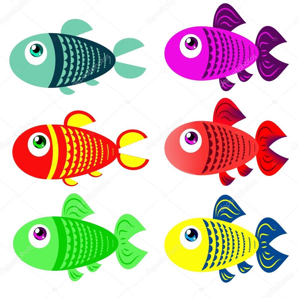 Disegni Di Pesci Colorati Per Bambini Insieme Dei Pesci Colorati