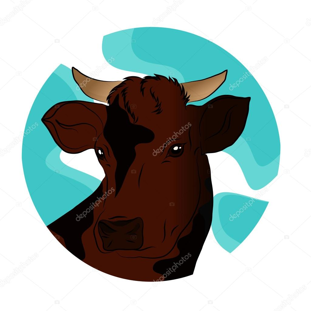 Vector illustration of a brown cow