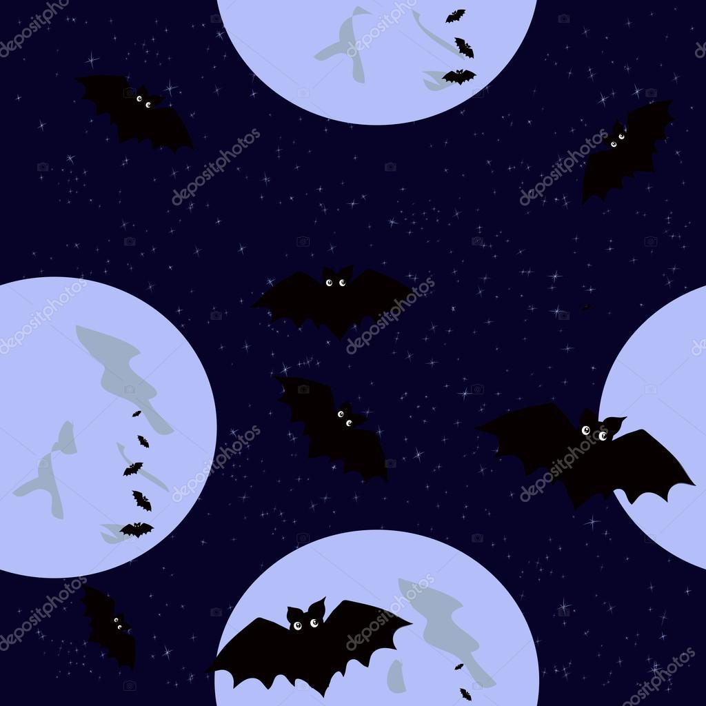 Seamless pattern with funny colored bats