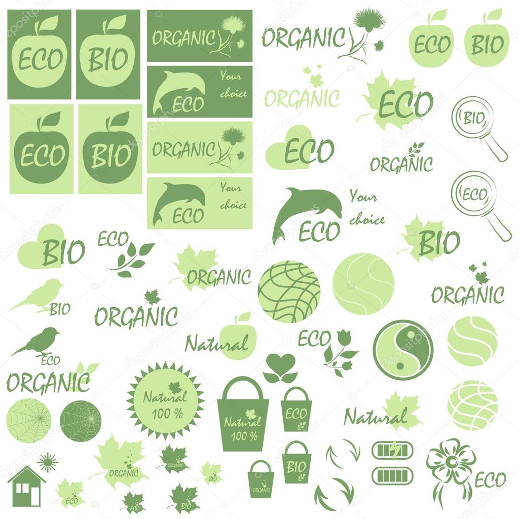 Set of icons and logos on the theme of natural products