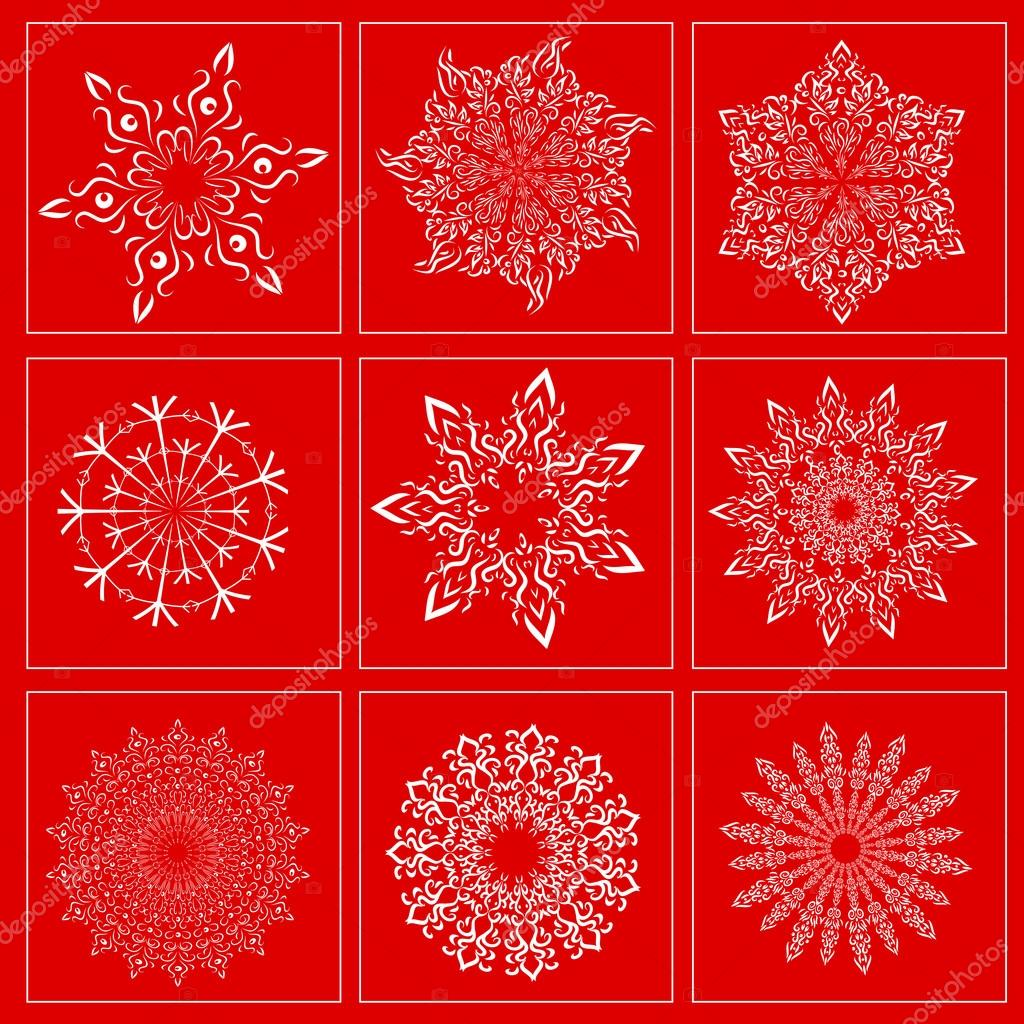 Set with the image of snowflakes on a red background