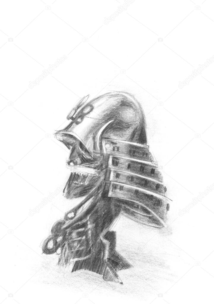 6764f991a7767 Drawing of japanese samurai mask — Stock Photo © eres #83706514