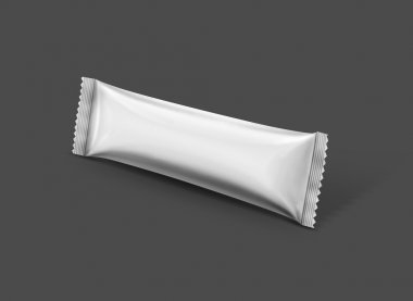 Blank packaging stick pouch isolated on gray background