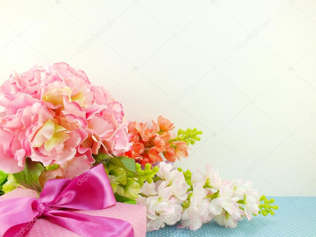 Gifts and beautiful bouquet of flowers for mother day birthday or gifts and beautiful bouquet of flowers for mother day birthday or other holiday stock photo izmirmasajfo