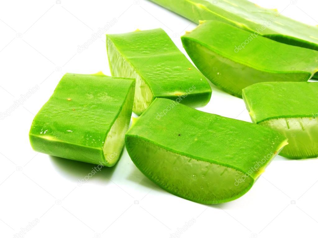 slice Aloe vera fresh leaf