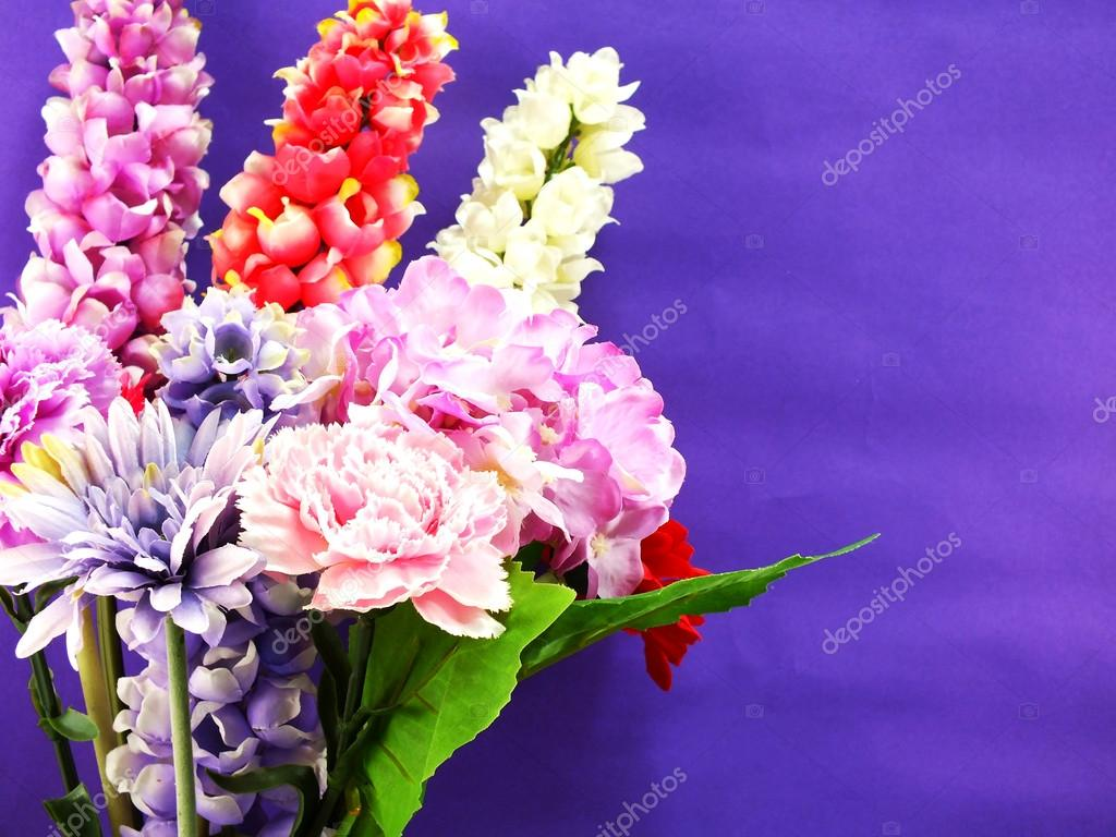 Bright Beautiful Colorful Artificial Flower Bouquet Stock Photo
