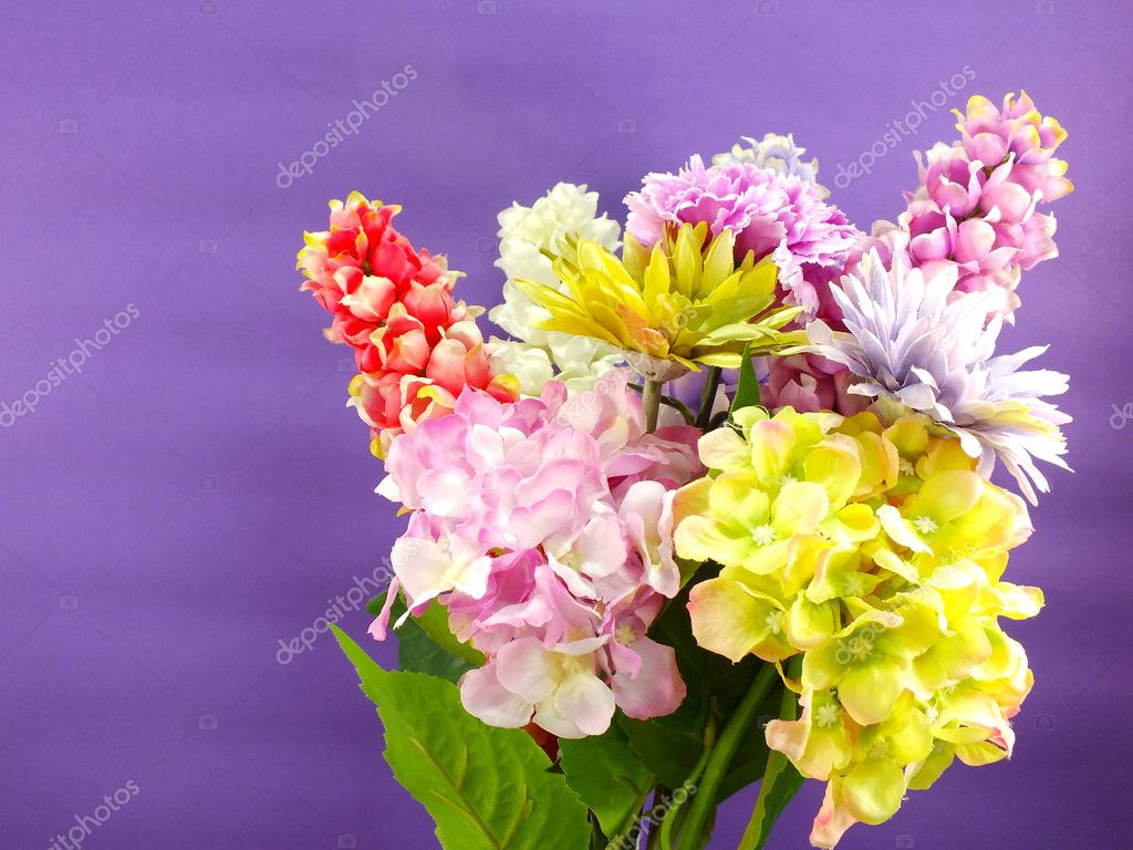 Bright Beautiful Colorful Plastic Flower Bouquet Stock Photo