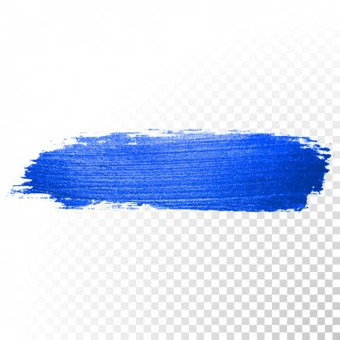 Deep blue watercolor brush stroke. Abstract shape. Vector oil paint smear line on  transparent background clip art vector