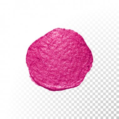 Pink watercolor brush blob. Vector oil paint smear. Polish stain.